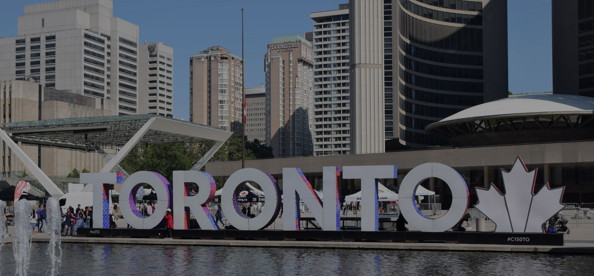 Toronto sign in front of City Hall, Toronto Ontario