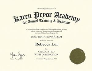 Karen Pryor Academy Rebecca Lui 2015