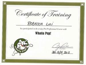 Certificate of Training Whatta Pup! Rebecca Lui